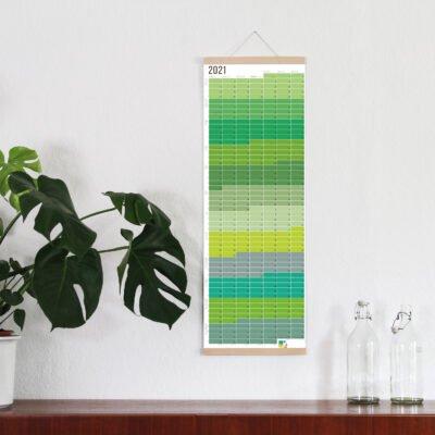 Wandkalender 2021 Jahresplaner Wallplanner 2021 Wi-La-No Gelb/Grün beidseitig bedruckt